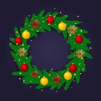 Concepto realista de corona de navidad