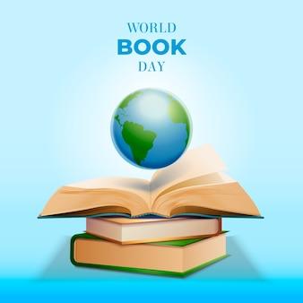Concepto realista del día mundial del libro
