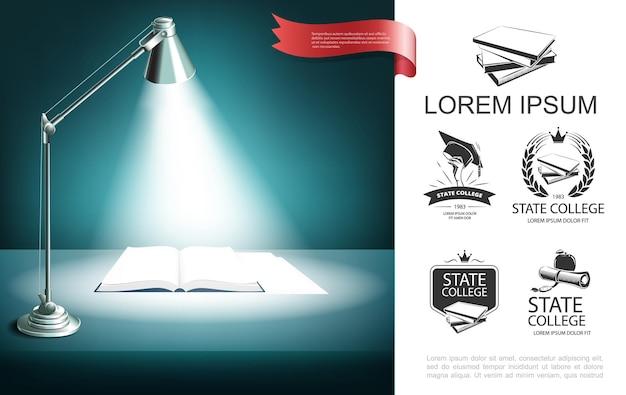 Concepto realista de educación y aprendizaje con etiquetas universitarias, lámpara de escritorio y libro abierto en la ilustración de la mesa,