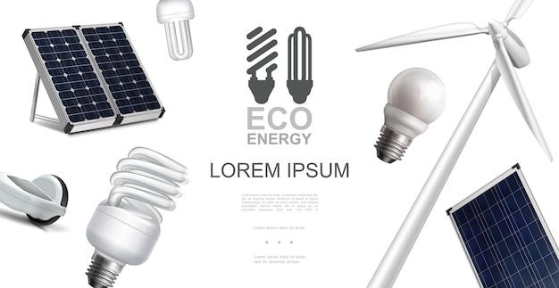 Concepto realista de elementos de energía ecológica con paneles solares de molino de viento e ilustración de bombillas eléctricas de ahorro de energía
