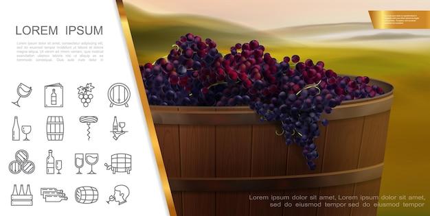 Concepto realista de elementos de vino y uvas con tina de madera de uvas rojas frescas e iconos lineales de vino