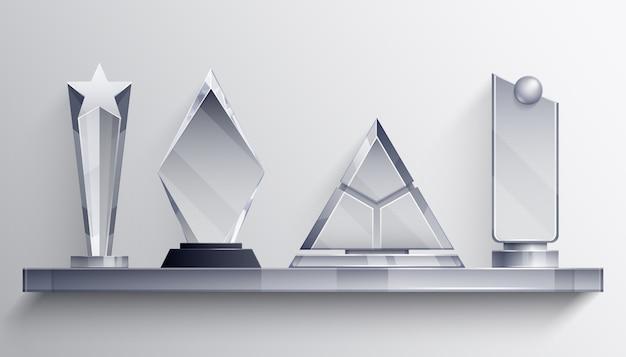 Concepto realista de estantería de trofeos con símbolos ganadores