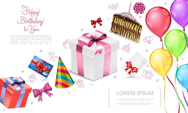 Concepto realista de feliz cumpleaños con cajas de regalo, sombrero de fiesta, tarjeta de crédito, pedazo de pastel, arcos brillantes, globos de colores, ilustración