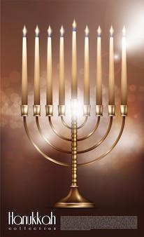 Concepto realista de feliz hanukkah