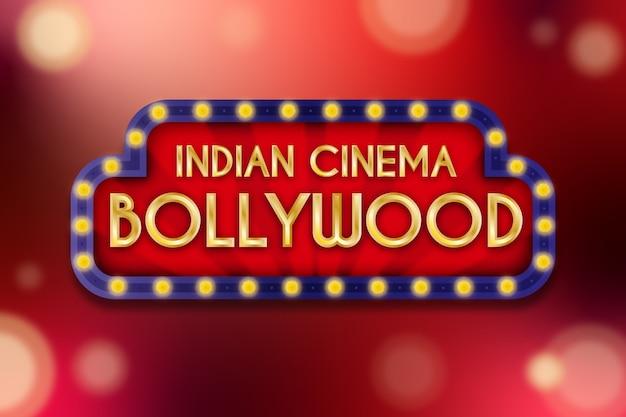 Concepto realista de signo de cine de bollywood