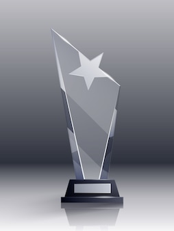 Concepto realista de trofeo de cristal con campeón y símbolos de liderazgo