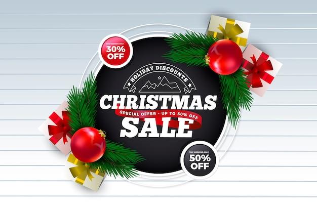 Concepto realista de venta de navidad