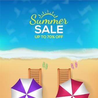 Concepto realista de venta de verano hola