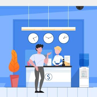 Concepto de recepción bancaria. woker parado en el mostrador y ayudando a un cliente. operación financiera en banco. ilustración isométrica