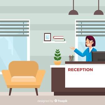 Concepto de recepción en diseño flat