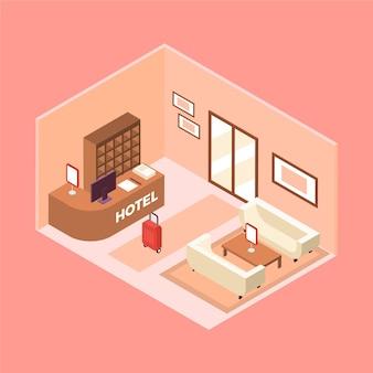 Concepto de recepción isométrica del hotel