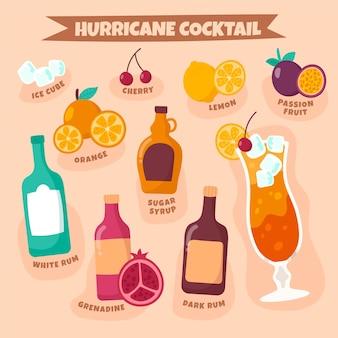 Concepto de receta de cóctel huracán