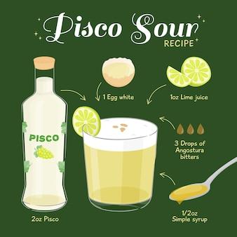 Concepto de receta de cóctel pisco sour
