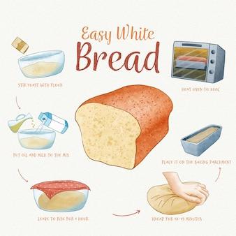 Concepto de receta de pan casero