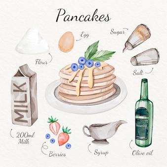 Concepto de receta de panqueques de acuarela