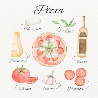 Concepto de receta de pizza acuarela