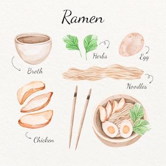 Concepto de receta de ramen acuarela