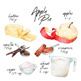 Concepto de recetas de acuarela