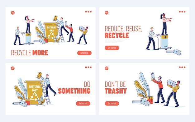 Concepto de reciclaje de baterías usadas. página de destino del sitio web.