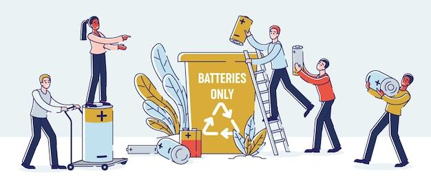 Concepto de reciclaje de baterías usadas.
