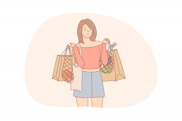 Concepto de reciclaje, compras, ecología, alimentos, cero residuos