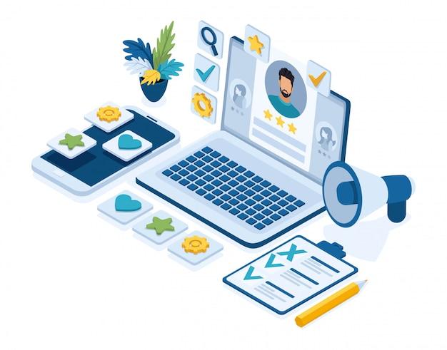 Concepto de reclutamiento isométrico, gerentes de recursos humanos, solicitantes de empleo, currículum, iconos para el trabajo, computadora portátil con currículum