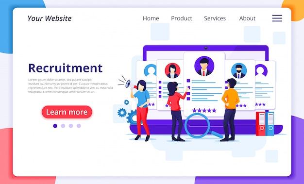Concepto de reclutamiento en línea, personas que buscan el mejor candidato para un nuevo empleado, proceso de contratación y reclutamiento.