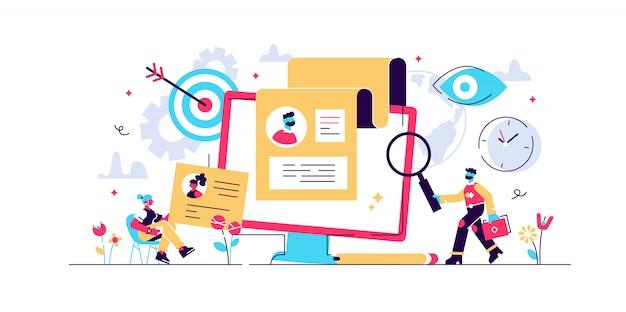 Concepto de reclutamiento para página web, banner, presentación, redes sociales, documentos, tarjetas, carteles. ilustración