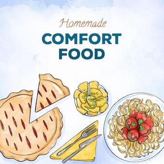 Concepto de recolección de alimentos reconfortantes