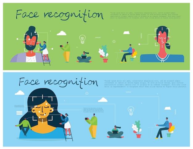 Concepto de reconocimiento facial. face id, sistema de reconocimiento facial con sistema de aprendizaje intelectual. elementos gráficos planos de diseño moderno.