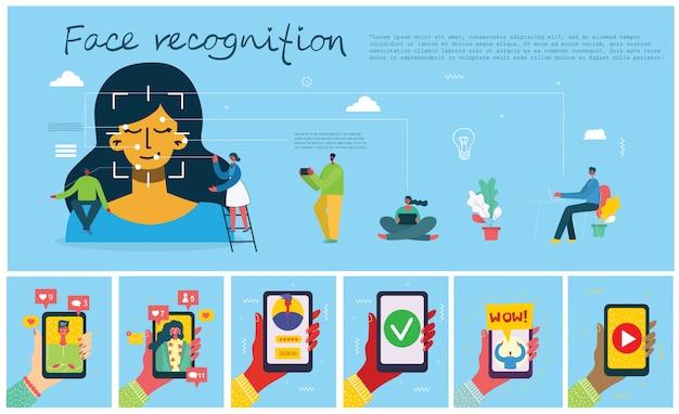 Concepto de reconocimiento facial. face id, sistema de reconocimiento facial con sistema de aprendizaje intelectual.
