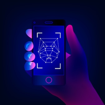 Concepto de reconocimiento facial. tecnologías de alta tecnología. la mano sostiene un teléfono inteligente en la pantalla de la aplicación de detección de rostros. ilustración.