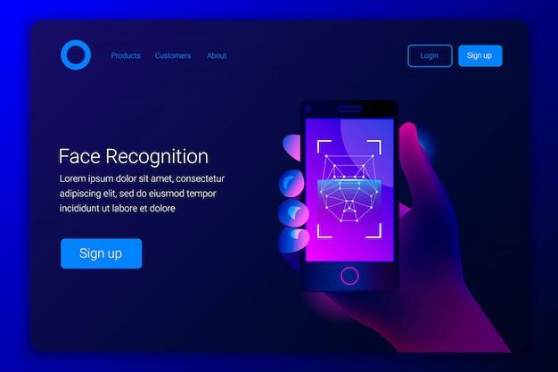 Concepto de reconocimiento facial. tecnologías de alta tecnología. la mano sostiene un teléfono inteligente en la pantalla de la aplicación de detección de rostros. plantilla de página de destino. estilo de moda. ilustración.