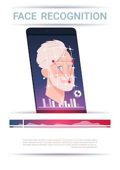 Concepto de reconocimiento de rostro teléfono inteligente escaneo hombre tecnología moderna de control de acceso