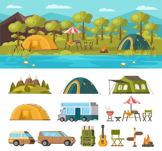 Concepto de recreación al aire libre de verano