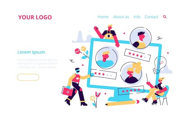 Concepto de recursos humanos, contratación de página web, banner, presentación, redes sociales, documentos, tarjetas, carteles. ilustración, contratación de empleados, calificación de revisión, evaluación de comentarios.