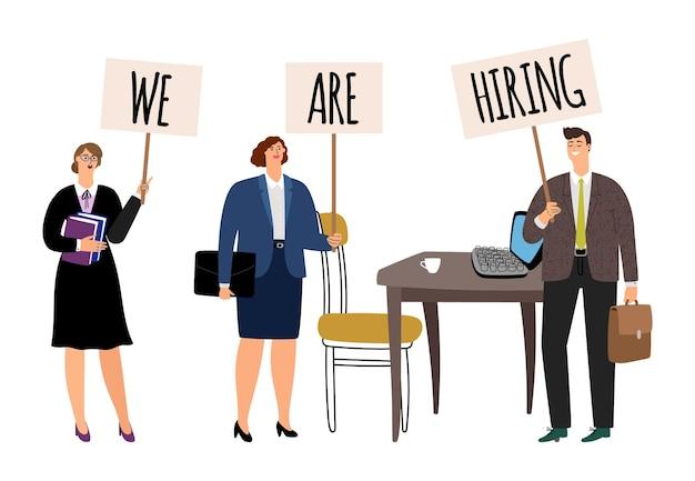 Concepto de recursos humanos. estamos contratando gente de negocios con carteles. ilustración de lugar de trabajo de oficina vacante