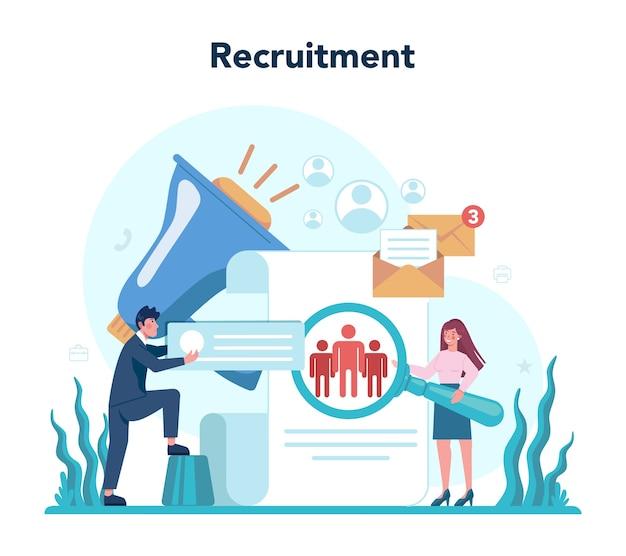 Concepto de recursos humanos. idea de contratación y gestión de puestos.