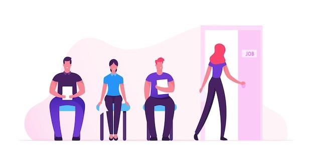 Concepto de recursos humanos. personas que esperan la entrevista sentados en el pasillo de la oficina en sillas. ilustración plana de dibujos animados