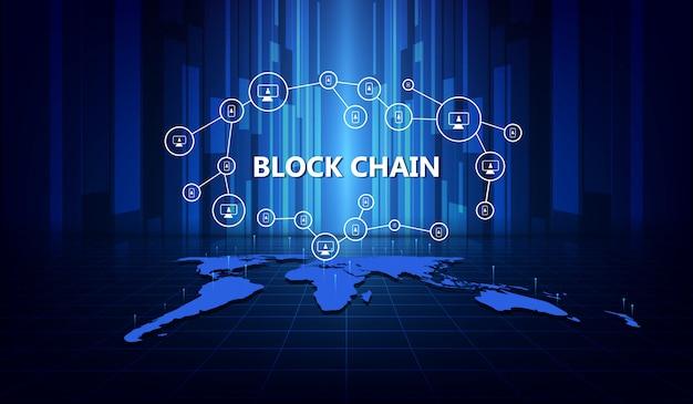 Concepto de red blockchain, conexiones en todo el mundo.