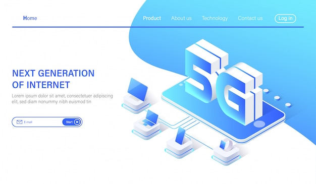 Concepto de red de comunicación 5g internet