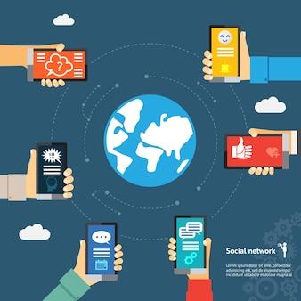Concepto de red de globo de mensajería instantánea móvil.