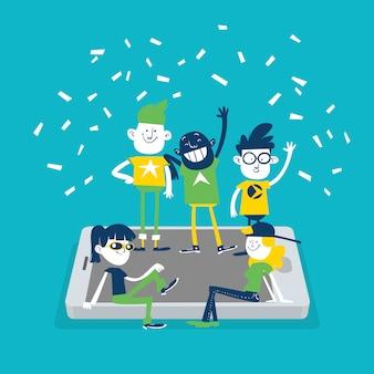 Concepto de red social. un grupo de jóvenes pasando el rato en la pantalla del móvil
