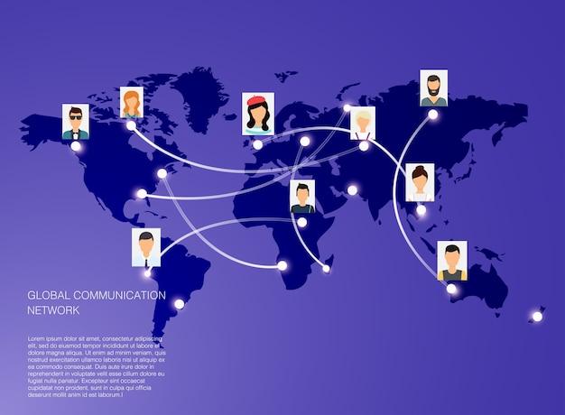 Concepto de red social. ilustración para la infografía de sitios web. tecnologías y sistemas de comunicación.