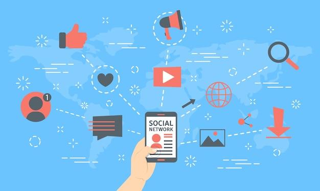 Concepto de red social. tecnología global y mundial
