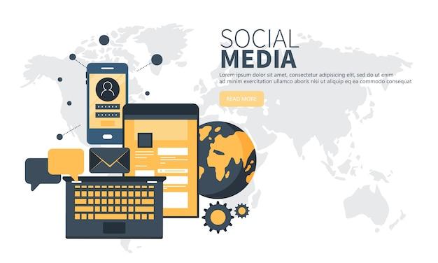 Concepto de red social para web y web móvil.