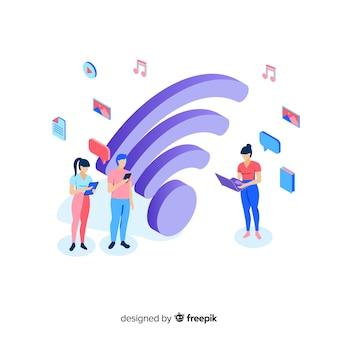 Concepto de red wifi en diseño plano