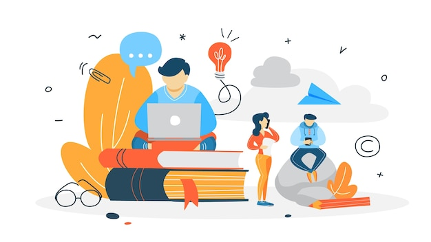 Concepto de redactor. escribir artículo creativo en blog. promoción en redes sociales. trabajo independiente. ilustración