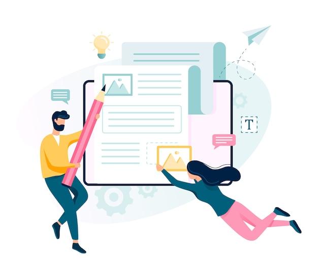 Concepto de redactor. idea de redacción de textos, creatividad y promoción. hacer contenido valioso y trabajar como autónomo. ilustración