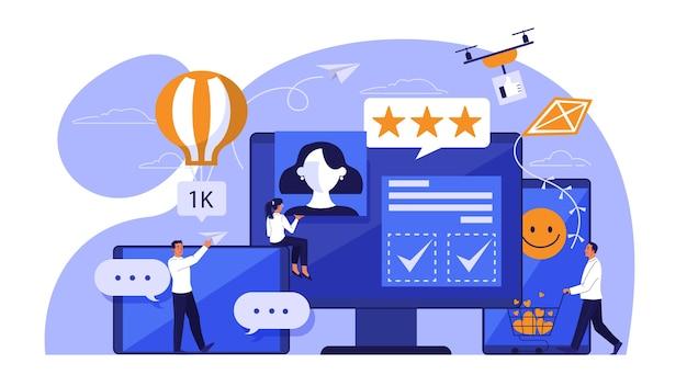 Concepto de redes sociales. comunicación a internet y conexión global. la gente comparte contenido en línea. ilustración isométrica